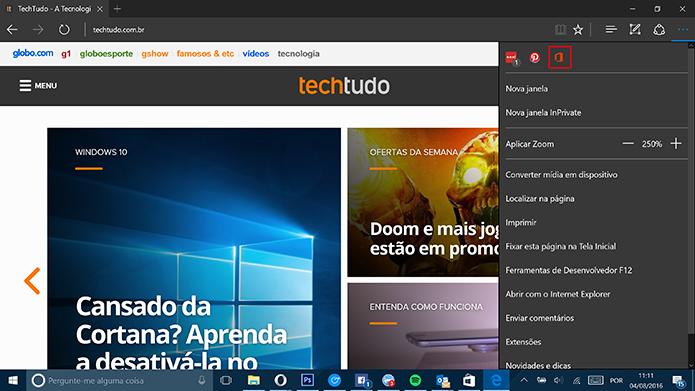 Usuário deve abrir extensão do Office Online para fazer login (Foto: Reprodução/Elson de Souza)