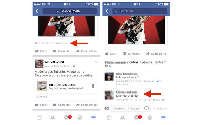 Acessando as opções para um comentários no Facebook pelo iPhone (Foto: Reprodução/Marvin Costa) (Foto: Acessando as opções para um comentários no Facebook pelo iPhone (Foto: Reprodução/Marvin Costa))