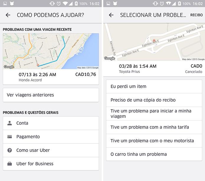 Uber possui diversas situações pré-carregadas para que usuário relate problema (Foto: Reprodução/Elson de Souza)