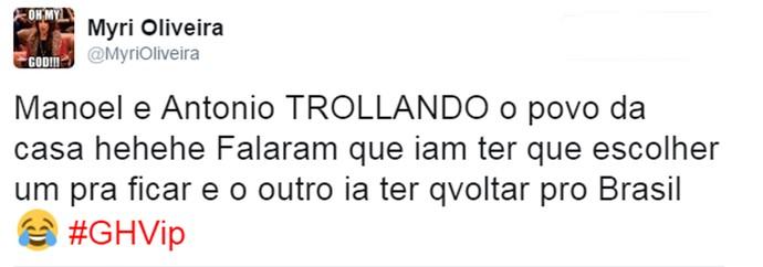Internautas comentam participação dos gêmeos no GH (Foto: Reprodução da Internet / Twitter @MyriOliveira)
