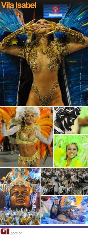 Vila Isabel foi a terceira a desfilar no segundo dia de carnaval no Rio (Foto: G1)