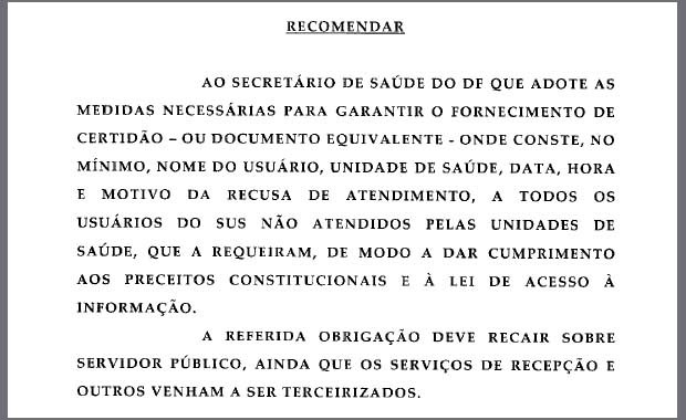 Trecho do documento enviado nesta quarta (5) ao secretário de Saúde pelo MPF (Foto: MPF/Reprodução)