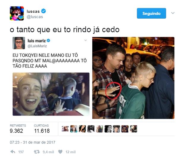 Youtuber diz que tocou em Justin Bieber e vira meme (Foto: Reprodução/Twitter)