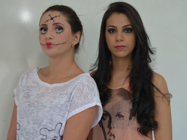 Maquiagem boneca quebrada e maquiagem convencional (Foto: Valéria Oliveira/ G1)