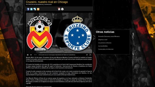 Site Oficial, Monarcas Morelia, Cruzeiro (Foto: Reprodução / Site Oficial)