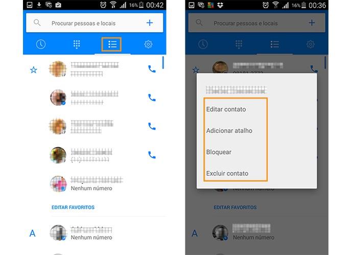 Lista de contatos no app e opções (Foto: Reprodução/Barbara Mannara)