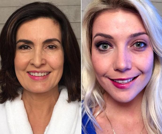 Fátima Bernardes e Luiza Possi com apenas metade do rosto maquiado (Foto: TV Globo)