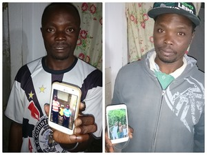 Irmãos Pierre mostram fotos dos filhos que estão no Haiti (Foto: Caio Gomes Silveira/ G1)