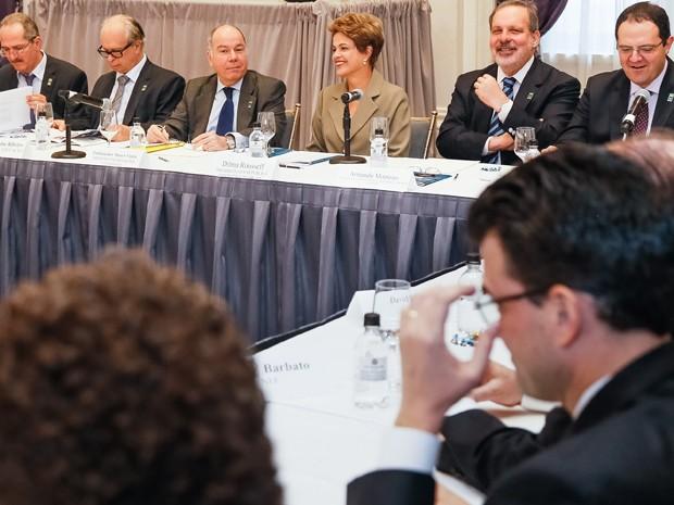 Dilma e mais cinco ministros se reuniram com empresários brasileiros em Nova York (Foto: Roberto Stuckert Filho/PR)