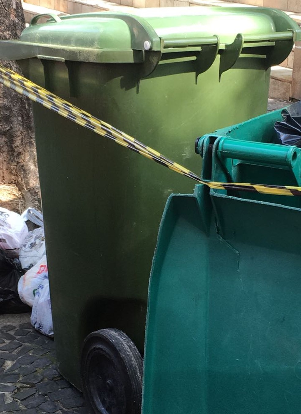 Catador de latinhas encontrou o bebê dentro da lixeira, em Santos, SP (Foto: Marcela Pierotti/G1)
