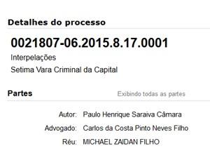 No site do TJPE, é possível verificar os nomes do governdor e de Michel Zaidan  (Foto: Reproduçaõ / TJPE)