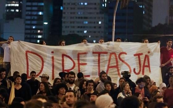 Protesto contra o presidente do Brasil, Michel Temer  em São Paulo (Foto: Miguel SCHINCARIOL/AFP)