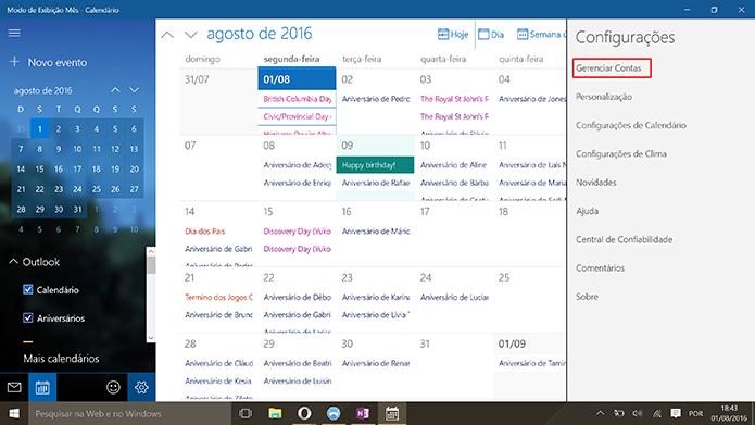 Calendário do Windows pode gerenciar várias contas ao mesmo tempo (Foto: Reprodução/Elson de Souza)