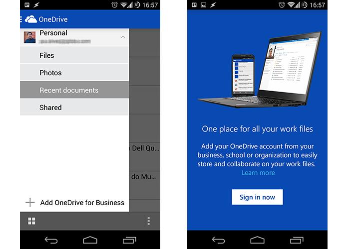 Uma das novidades do OneDrive é maior integração com contas empresariais (Foto: Reprodução/Paulo Alves)