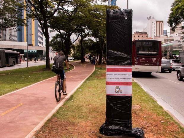 Totens estão sendo instalados em ciclovias de São Paulo (Foto: Victor Abex/Brazil Photo Press/Estadão Conteúdo)