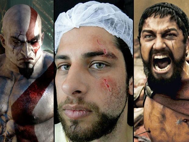 Rafael diz ter se inspirado nos personagens Kratos (à esq.) e Leônidas (à dir.) (Foto: Divulgação)