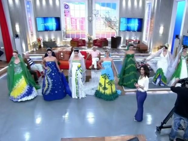 Você usaria um desses vestidos no seu casamento? (Foto: Encontro com Fátima Bernardes/TV Globo)
