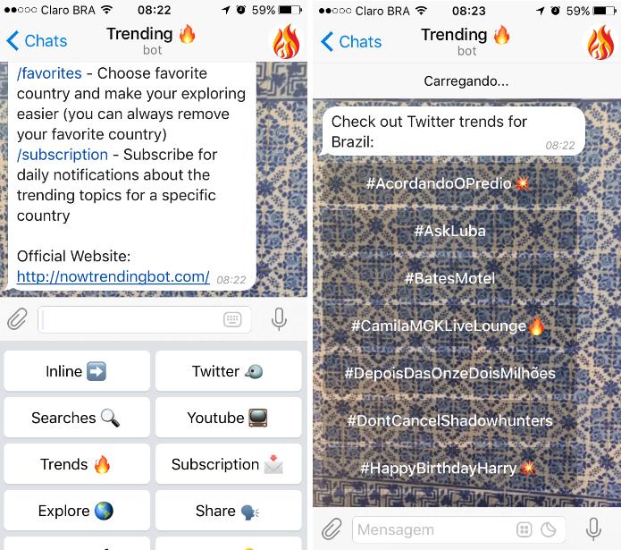 Os usuários podem conferir as principais notícias de redes sociais com o @NowTrendingBot (Foto: Reprodução/Daniel Ribeiro)