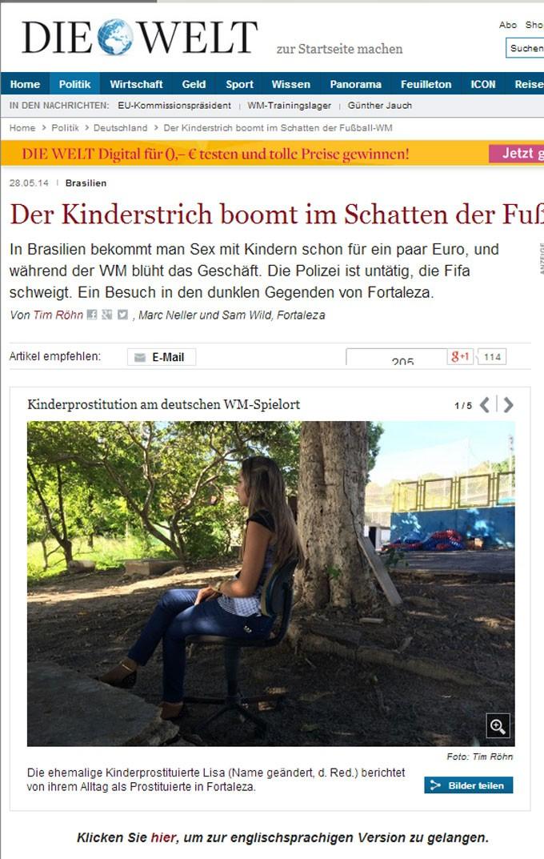 Reportagem no site do jornal alemão tem foto da ex-prostituta infantil