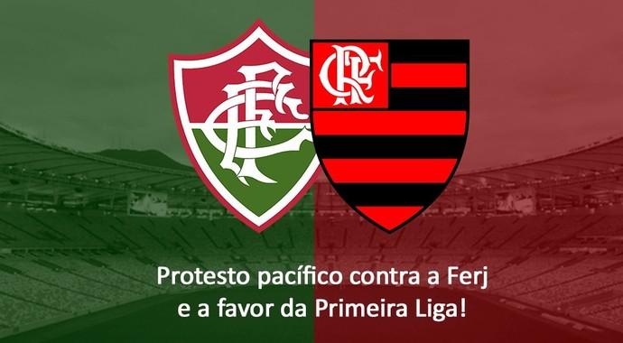 Protesto primeira liga juntos pelo futebol fluminense e flamengo (Foto: Reprodução)