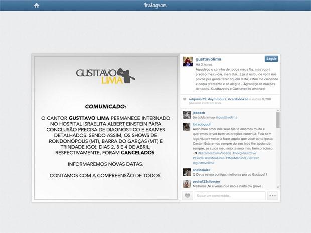 Internado em São Paulo, cantor Gusttavo Lima agradece apoio de fãs em redes sociais (Foto: Reprodução/Instagram Gusttavo Lima)