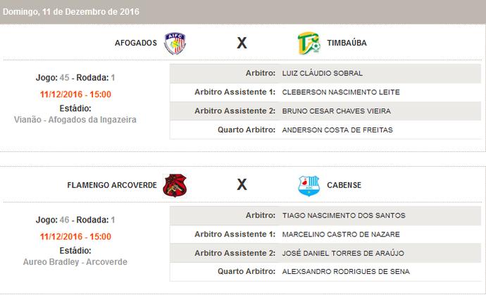 Escala de arbitragem das semifinais da Série A2 do Pernambucano (Foto: Reprodução / FPF-PE)