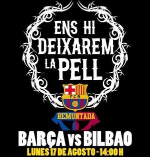"""Cartaz de incentivo Barcelona Supercopa da Espanha """"Nós vamos dar a pele"""" (Foto: Reprodução Twitter)"""