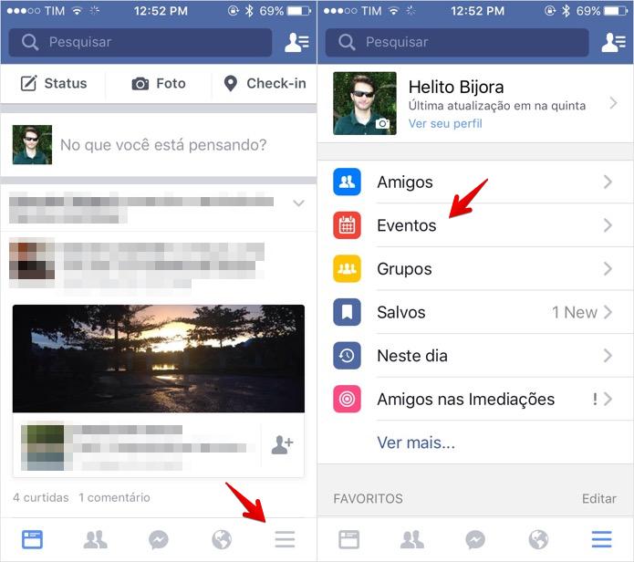 Acesse a seção de eventos do Facebook (Foto: Reprodução/Helito Bijora)  (Foto: Acesse a seção de eventos do Facebook (Foto: Reprodução/Helito Bijora) )