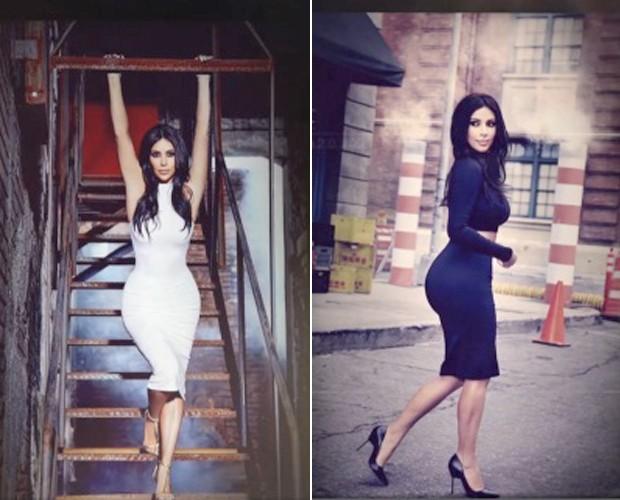 Kim Kardashian exibe suas curvas nas redes sociais (Foto: Reprodução/TV Globo)