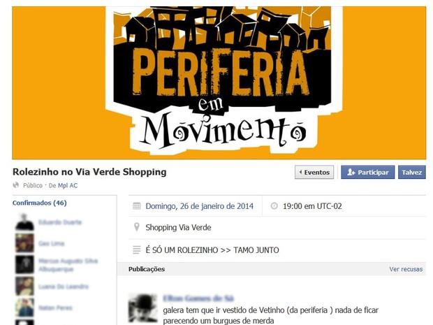 Rolezinho no Via Verde Shopping está marcado para o dia 26 (Foto: Reprodução Facebook)