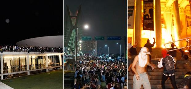 Três momentos dos protestos no Brasil nesta segunda-feira: Brasília, São Paulo e Rio de Janeiro (Foto: Agência Câmara, EFE, Agência O Globo)