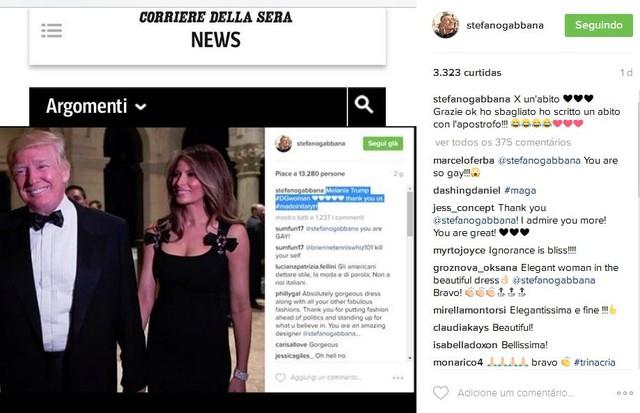 Stefano Gabbana reposta notícias em torno do look de Melania Trump (Foto: Reprodução)