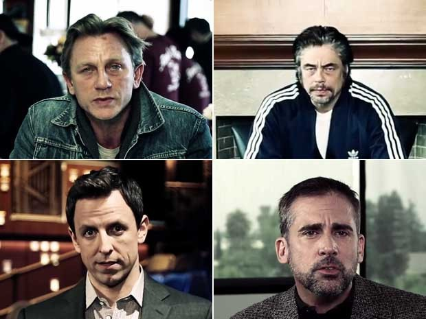 Os atores Daniel Craig (acima, à esq.), Seth Meyers (acima, à dir.), Benicio Del Toro (abaixo, à esq.) e Steve Carell (abaixo, à dir.) no vídeo da campanha '1 is 2 Many', promovida pela Casa Branca, contra o abuso sexual (Foto: Divulgação/Casa Branca)