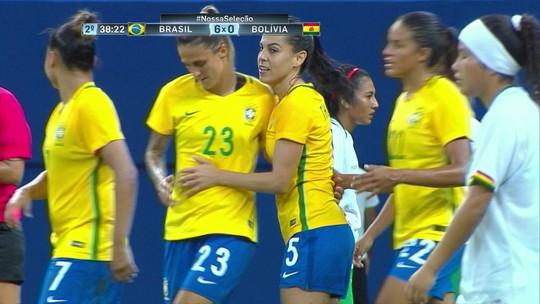 Seleção brasileira goleia Bolívia em 1º teste do ano com Marta e Cristiane