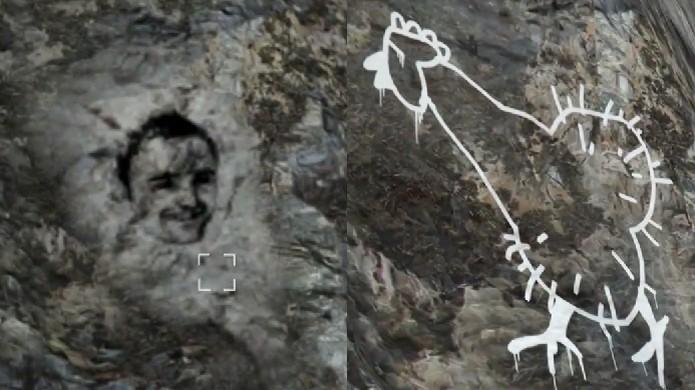 E o rosto no Monte Chiliad foi substituído por um desenho de duplo sentido (Foto: Reprodução: YouTube)