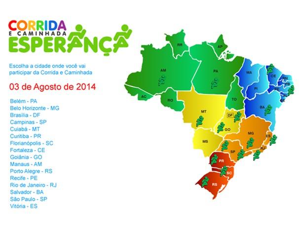 Corrida e Caminhada da Esperança 2014 acontece em 16 cidadas do país  (Foto: Reprodução)