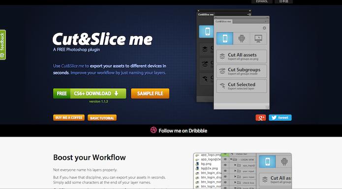 Homepage do site do plugin  Cut&Slice me (foto: Repodução/ Lu Fávero)