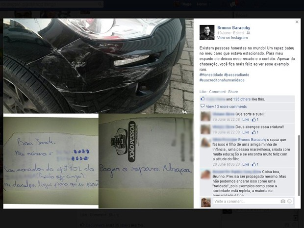 Estudante de direito bateu no veículo quando saía de prédio onde mora, em João Pessoa (Foto: Reprodução/Facebook)