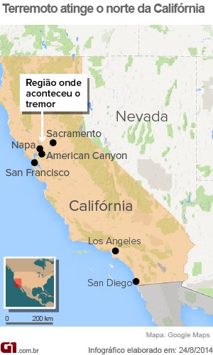 Terremoto atinge o norte da Califórnia