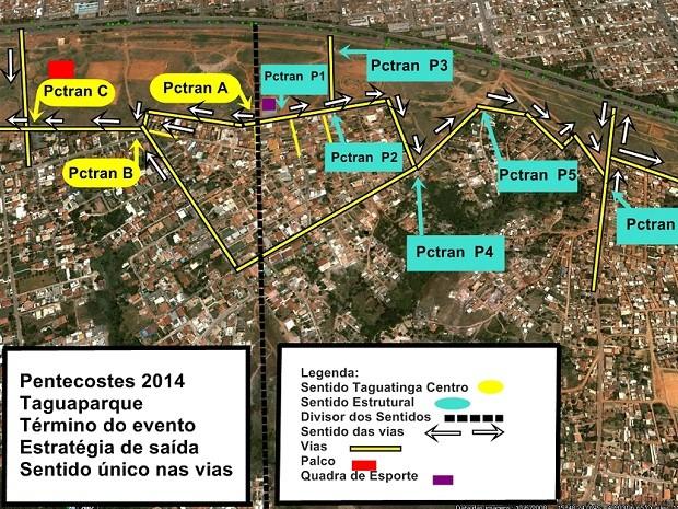 Mapa mostra alteração no trânsito na região de Taguaparque, em Taguatinga, por causa da cerimônia de Pentecostes (Foto: Detran-DF/Divulgação)