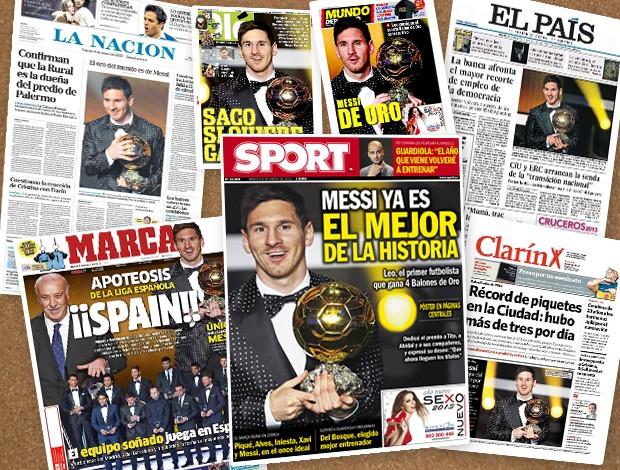 Jornais messi melhor do mundo (Foto: Reprodução)