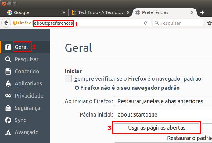 Ajustando o Firefox para iniciar um conjunto de páginas ao iniciar (Foto: Reprodução/Edivaldo Brito)