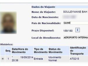 Documento africano suspeito de ter ebola VALE (Foto: Divulgação)
