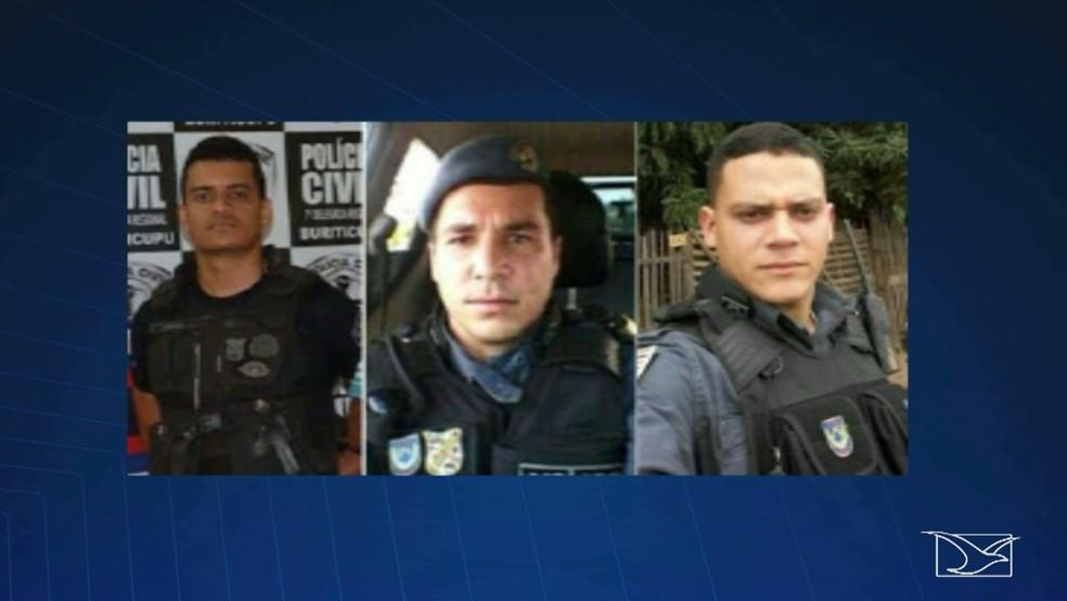 Tenente Josuel Alves de Aguiar e os soldados Tiago Viana Gonçalves e Gladstone de Sousa são suspeitos de praticar o assassinato dos policiais. (Foto: Reprodução/TV Mirante)