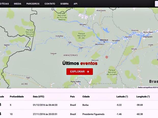 Site do Observatório Sismológico  registrou abalo  (Foto: Reprodução/Obsis)