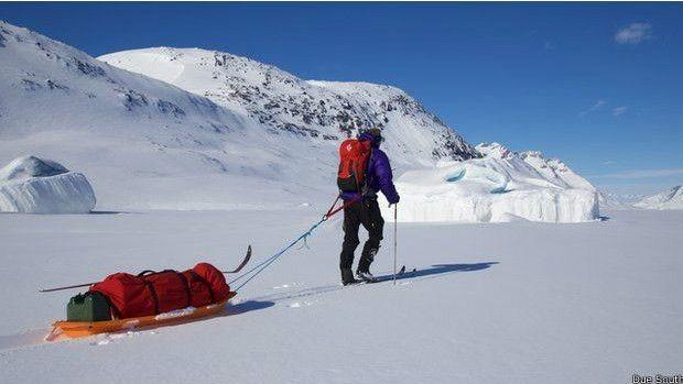 Luke treinou na Groelândia durante sua preparação para a viagem.  (Foto: Due South)