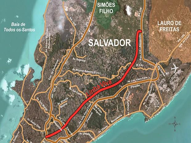 Mapa da Linha Viva, Salvador, Bahia (Foto: Divulgação/ Semut)
