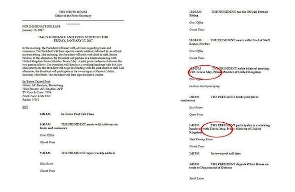 O documento da Casa Branca com o nome errado de Theresa May (Foto: Reprodução)