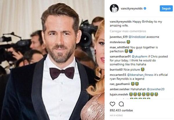 Ryan Reynolds corta Blake Lively em post para comemorar aniversário dela e diverte fãs (Foto:  )