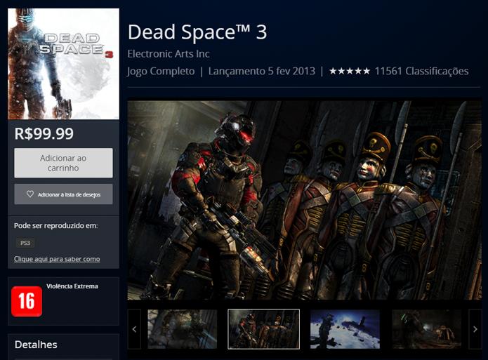 Página de Dead Space 3 na PlayStation Store (Foto: Reprodução/André Mello)
